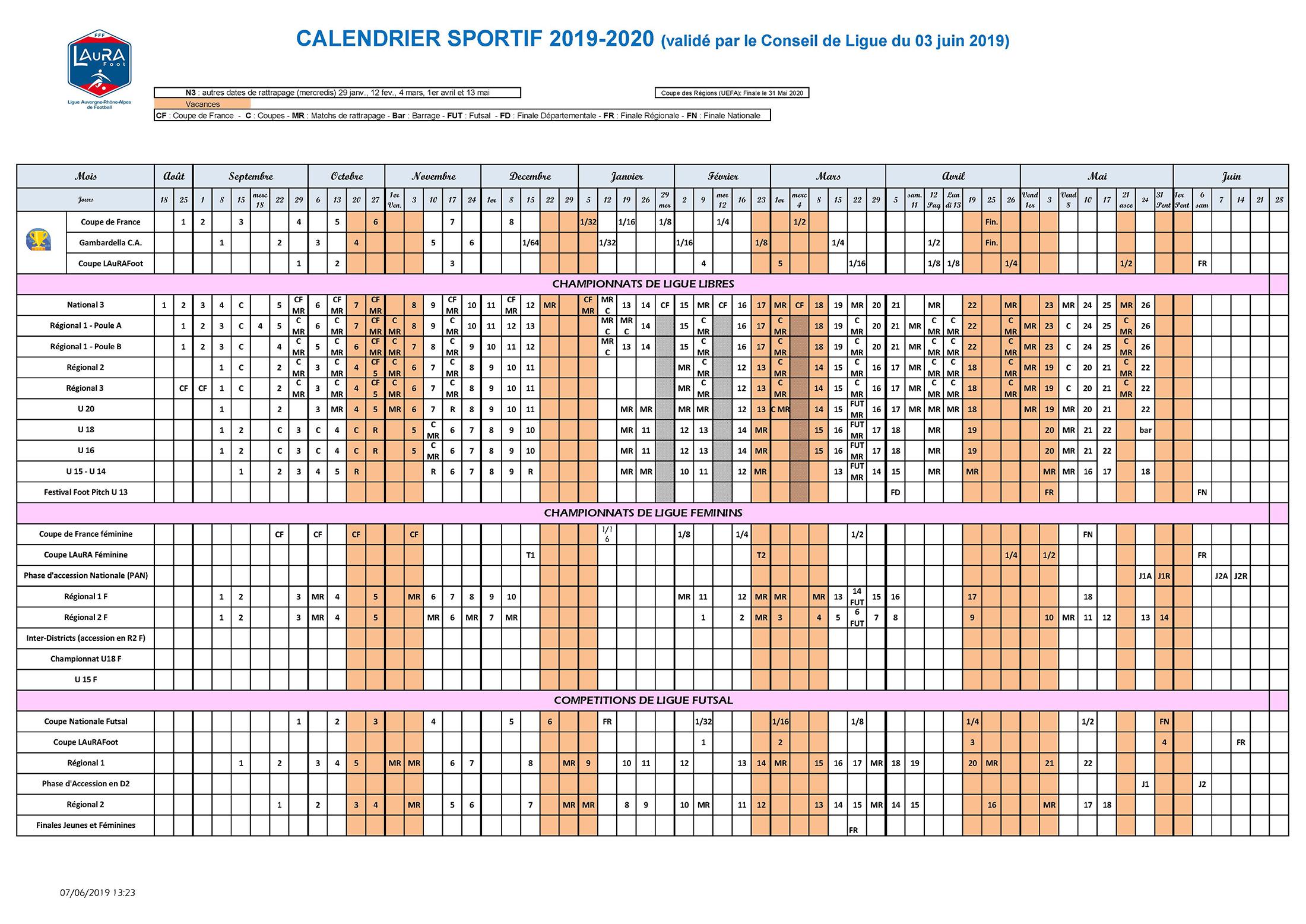 Calendrier Sport 2020.L Etrat La Tour Sportif Calendrier General Ligue Auvergne